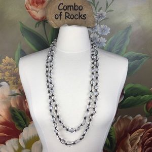 Talbots Double Strand Clear Bead Necklace
